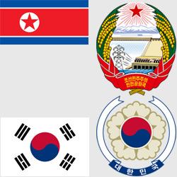 Корея — флаг и герб страны, картинка цветная