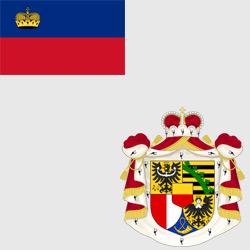 Лихтенштейн — флаг и герб страны, картинка цветная