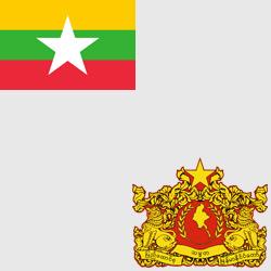 Мьянма — флаг и герб страны, картинка цветная