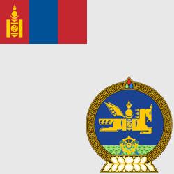 Монголия — флаг и герб страны, картинка цветная