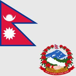 Непал — флаг и герб страны, картинка цветная