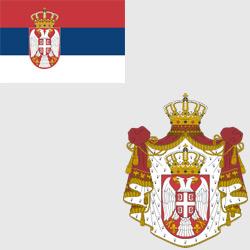 Сербия — флаг и герб страны, картинка цветная