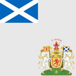 Шотландия — флаг и герб страны, картинка цветная