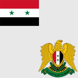 Сирия — флаг и герб страны, картинка цветная