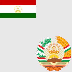 Таджикистан — флаг и герб страны, картинка цветная