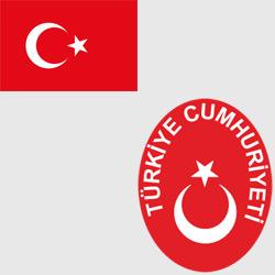 Турция — флаг и герб страны, картинка цветная