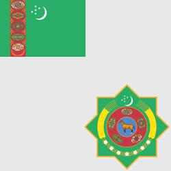 Туркменистан — флаг и герб страны, картинка цветная