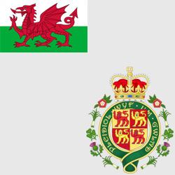 Уэльс — флаг и герб страны, картинка цветная
