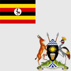 Уганда — флаг и герб страны, картинка цветная