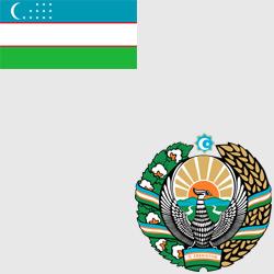 Узбекистан — флаг и герб страны, картинка цветная