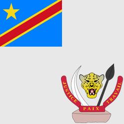Заир (Демократическая Республика Конго) — флаг и герб страны, картинка цветная